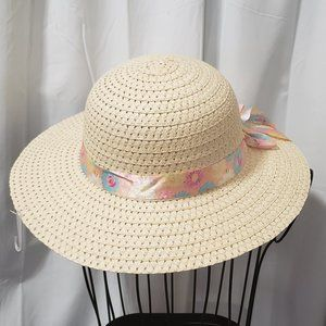 Fun Straw Sun Hat w/ Floral Print Ribbon NWT